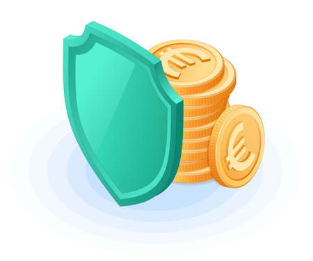 Flat isometric illustration of pile of euro coins hides behind a shield. The deposit insurance and safety, money protection and cash care, european currency, business, banking isolated vector concept. Иллюстрация