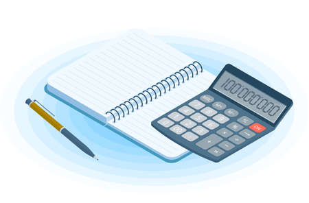 Flat vector isometric illustration of opened copybook, pen, electronic calculator. Office and business workplace concept: paper notepad and accounting calculator. School, education workspace supplies.
