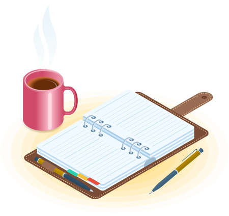 Flat vector isometric illustration of opened planner, pen, mug of coffee. Office and business breakfast workplace concept: paper agenda and hot cup. School and education workspace supplies.