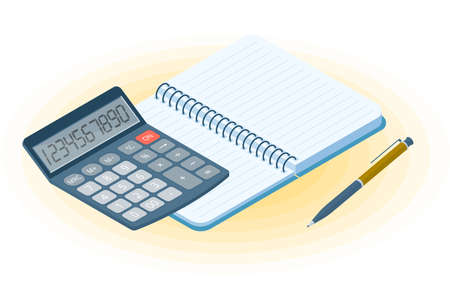 Flat vector isometric illustration of opened notebook, pen, electronic calculator. Office and business workplace concept: paper notepad and accounting calculator. School, education workspace supplies. Иллюстрация