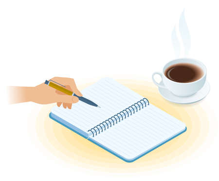 Flat vector isometric illustration of copybook, hand writing with pen, cup of tea. Office and business breakfast workplace concept: paper notepad, hot mug. School, education workspace supplies.
