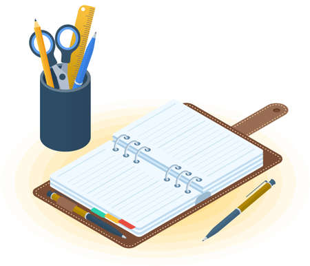 Flat vector isometric illustration of opened planner, pen, desktop organizer. Office and business workplace concept: paper notepad and stationery. School and education workspace paperwork supplies.