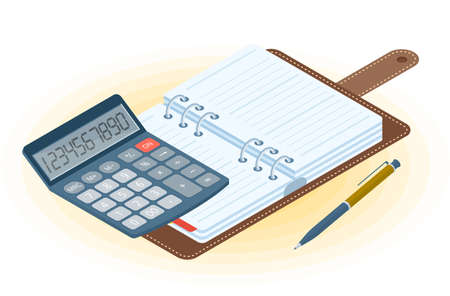 Flat vector isometric illustration of opened planner, pen, electronic calculator. Office and business workplace concept: paper agenda and accounting calculator. School, education workspace supplies.