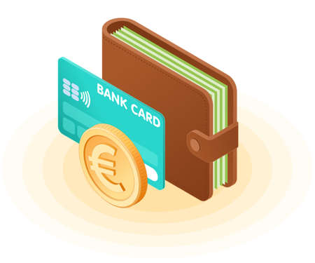 Flat isometric illustration of the wallet with banknotes, credit card, euro coin. The business growth, European money, earnings, profit, success, vector concept isolated on white background.