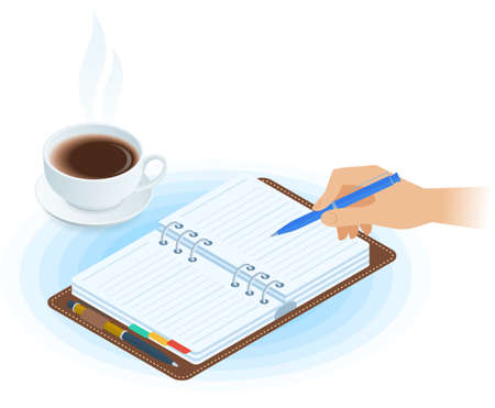 Flat vector isometric illustration of planner, hand writing with pen, cup of tea. Office and business breakfast workplace concept: paper agenda, hot mug. School, education workspace supplies.