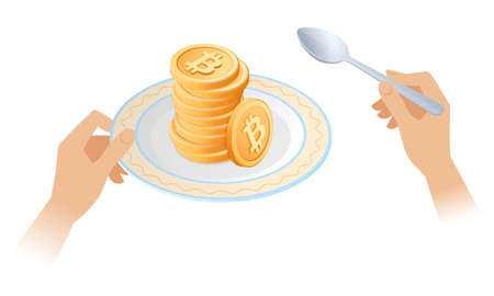 The pile of bitcoins on the dish. Businessman's hands are holding the plate with stack of cryptocurrency. Flat vector isometric business, e-commerce, blockchain, success and money concept illustration Иллюстрация