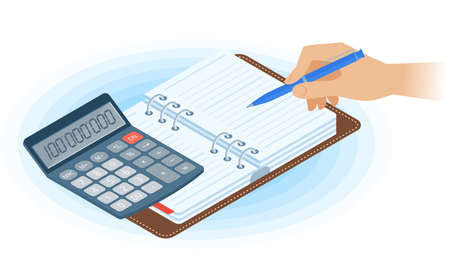 Flat vector isometric illustration of planner, hand writing with pen, math calculator. Office, business workplace concept: paper agenda, accounting calculator. School, education workspace supplies. Ilustración de vector