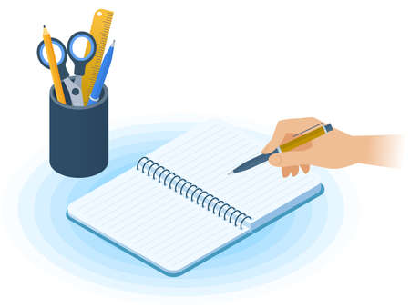 Flat vector isometric illustration of notebook, hand writing with pen, desktop organizer. Office, business workplace concept: paper notepad, stationery. School, education workspace paperwork supplies.