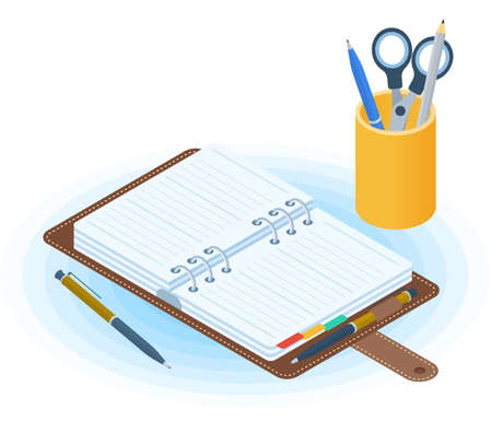 Flat vector isometric illustration of opened agenda, pen, desktop organizer. Office and business workplace concept: paper planner and stationery. School and education workspace paperwork supplies. Иллюстрация