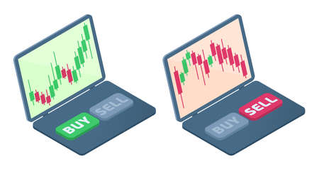 The laptop with stock quote candlestick charts on the screen. The falling and increasing of shares graphs. The broker's laptop, selling, buying buttons. Business flat isometric concept illustration. Иллюстрация