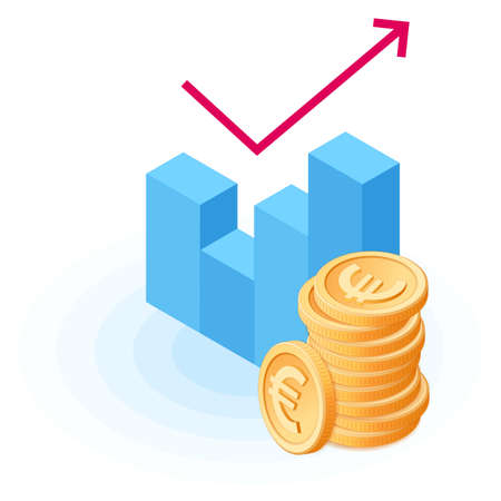 Flat isometric illustration of pile of euro coins at the growth graph. The business increase, growing money, european currency, earnings, profit, wealth, success, vector concept isolated on white.