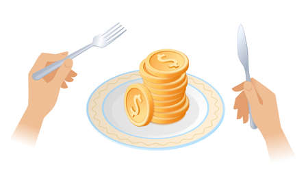 The pile of coins on the dish. Businessman's hands are holding the fork and knife. Plate with stack of golden dollars. Flat isometric business concept illustration of a success, rich, wealth, money.