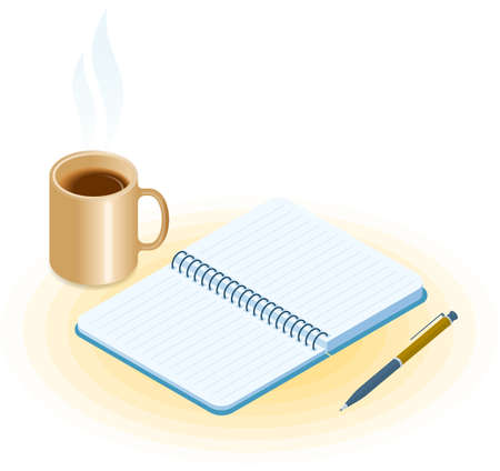 Flat vector isometric illustration of opened notebook, pen, mug of coffee. Office and business breakfast workplace concept: paper notepad and hot cup. School and education workspace supplies. Иллюстрация
