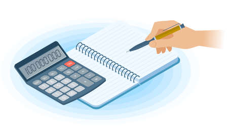 Flat vector isometric illustration of notebook, hand writing with pen, math calculator. Office, business workplace concept: paper notepad, accounting calculator. School, education workspace supplies.