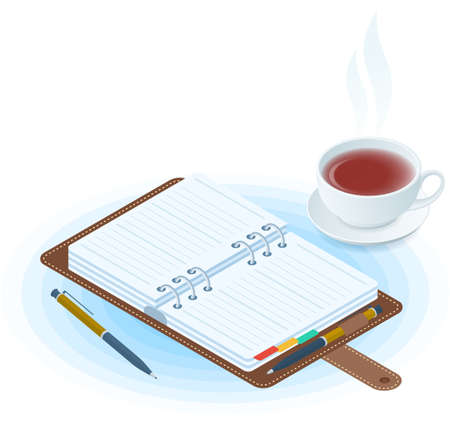 Flat vector isometric illustration of opened agenda, pen, cup of tea. Office and business breakfast workplace concept: paper planner and hot mug. School and education workspace supplies. Иллюстрация