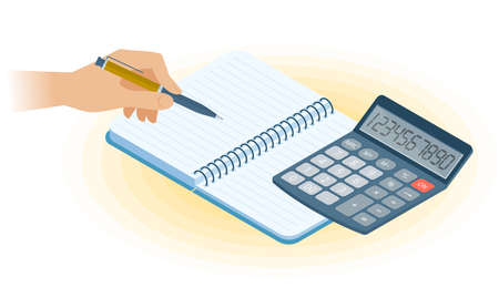 Flat vector isometric illustration of copybook, hand writing with pen, math calculator. Office, business workplace concept: paper notepad, accounting calculator. School, education workspace supplies.