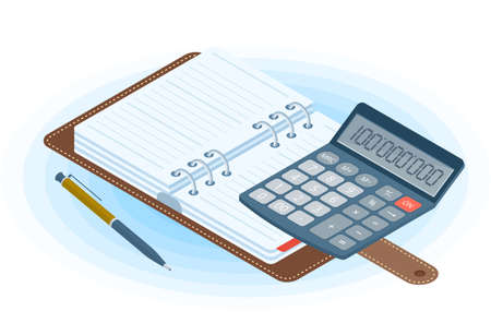 Flat vector isometric illustration of opened agenda, pen, electronic calculator. Office and business workplace concept: paper planner and accounting calculator. School, education workspace supplies.