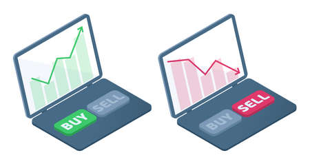 The laptop with stock quote charts on the screen. The fall and the increase in the shares price graphs. The trader's computer, selling and buying buttons. Business flat isometric concept illustration.