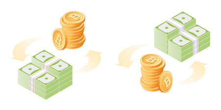 The exchange of bitcoins to dollars. The currency conversion process. Flat vector isometric illustration of bit coins stack and paper dollars pile. The money, business, banking, finance concept.