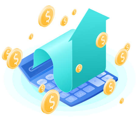 The accountant calculator, increasing arrow, dollars gold rain. Flat vector isometric illustration. The finance success, money profit, online banking, stockmarket and stock exchange, business concept.