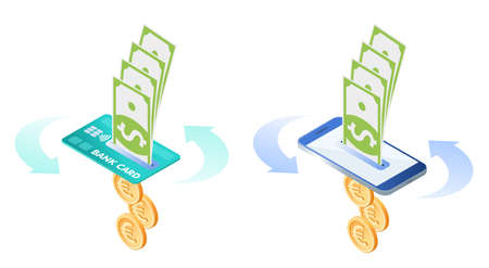 The exchange, currency conversion of euros to dollars. Flat vector isometric illustration of euro coins, dollars, bank card, smart phone. The mobile banking via credit card and smartphone concept.