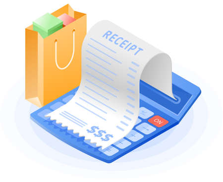 The accountant calculator, paper bill payment, shopping bag. Flat vector isometric illustration. The web store, shopping, buying and paying, payment calculation, purchase invoice business concept.