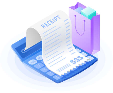 The mathematics calculator, paper bill payment, shopping bag. Flat vector isometric illustration. The web store, buying, paying, payment calculation, purchase invoice, receipt bill, business concept. Иллюстрация
