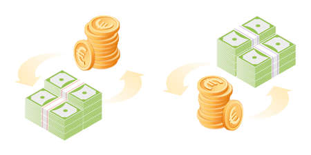 The exchange of euros to dollars. The currency conversion process. Flat vector isometric illustration of euro coins stack and paper dollars pile. The money, business, banking, finance concept.