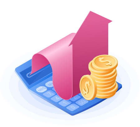 The math calculator, growing arrow graph, stack of coin dollars. Flat vector isometric illustration. The finance success, money profit, online banking, stock market, growing dividends business concept