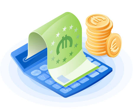 The mathematics calculator, paper euro, stack of coins. Flat vector isometric illustration. The commercial success, account balance calculation, financial advising, finance control business concept.