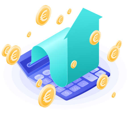 The accountant calculator, increasing arrow, euros gold rain. Flat vector isometric illustration. The finance success, money profit, online banking, stockmarket and stock exchange, business concept. Иллюстрация