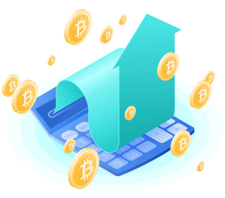 The accountant calculator, increasing arrow, bitcoins gold rain. Flat vector isometric illustration. The finance success, blockchain, cyber money, cryptocurrency, stock exchange, business concept.