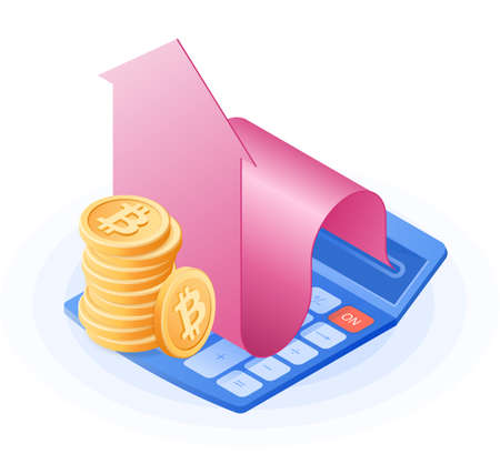 The accountant calculator, increasing arrow graph, stack of bitcoins. Flat vector isometric illustration. The cyber money, blockchain, stockmarket, stock exchange, cryptocurrency business concept.