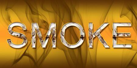 flame letters: Flammable smoke label - Yellow smoke label, smoke background