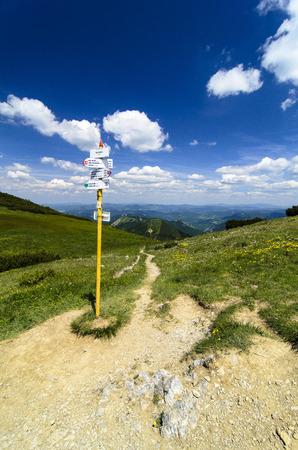 Mala Fatra mountain, Slovakia, Europe Guide post in mountain pass Stock Photo