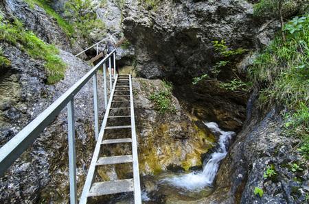 Mala Fatra mountain, Slovakia, Europe - Waterfall and ladder in National Park Mala Fatra
