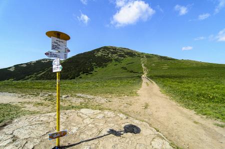 mala fatra: Mala Fatra mountain, Slovakia, Europe - Walking path with guidepost in National park Mala Fatra