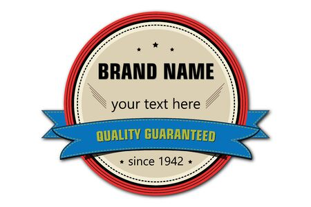 product brand: Old look vector retro label  badge for product, brand name and company name