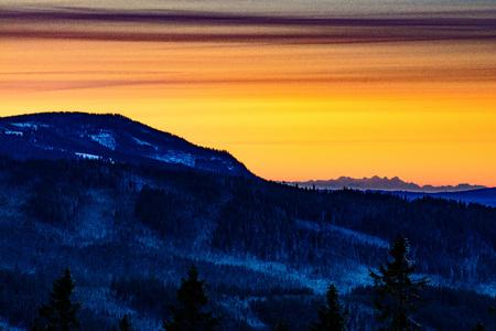 december sunrise: Winter frozen sunrise in mountains. Photo taken on: December 21st, 2017 Stock Photo