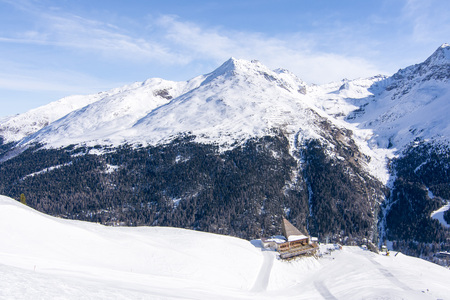 Alps restaurant cottage with mountain view in ski resort Solda, Italy Stock Photo