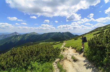 Girl tourist looks around on mountains in National park Mala Fatra