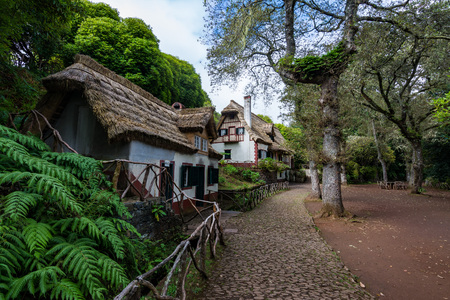 Typical architectonic house at Madeira with beautiful nature surrounding