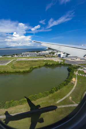 Aerial photography of Singapore airport Editorial