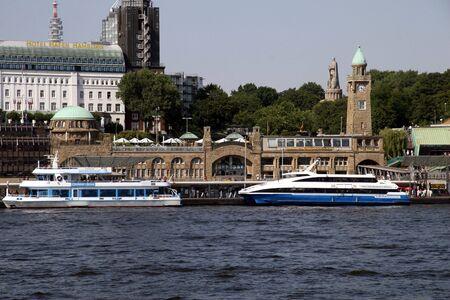 Port Hamburg Landungsbr�cken Stock Photo