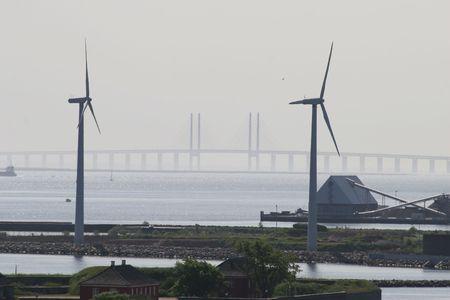 suspension bridge over the baltic sea Stock Photo