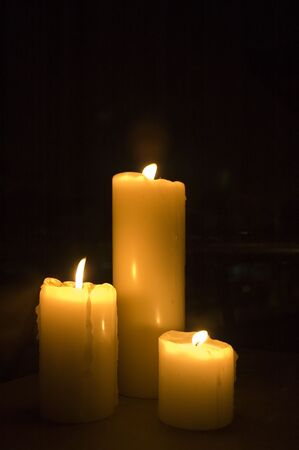 Three candles lighted