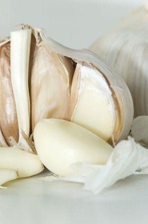 A close-up shot of a raw garlic