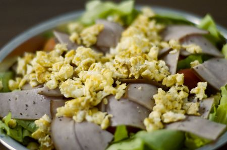 A deliciously prepared low carb diet and healthy egg salad Stock Photo
