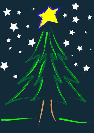 A illustration of a christmas tree in a starry night