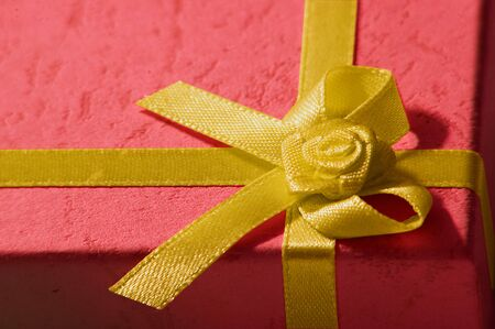 Chirstmas Present with a gold ribbon Stock Photo